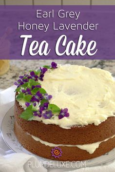 Earl Grey Honey Lavender Tea Cake Recipe This gorgeous tea cake is sweetened with honey, flavored with Earl Grey tea, and slathered in luscious lavender buttercream. Tea Recipes, Baking Recipes, Sweet Recipes, Recipies, Tea Cakes, Cupcake Cakes, Köstliche Desserts, Dessert Recipes, Summer Cake Recipes