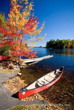 Fall canoe, Maine, New England, USA. Stock Photo