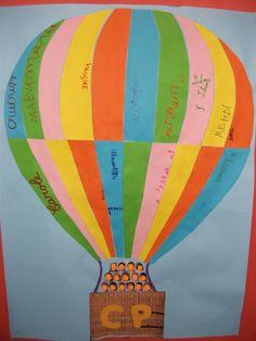 Affichage de porte : la mongolfière de la classe