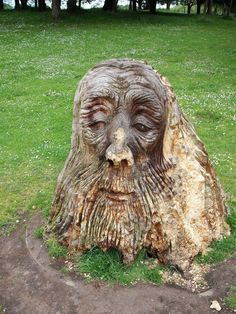 Scott Buehler -- A carved tree stump in Sefton Park, Liverpool, England. Tree Faces, Liverpool England, In Natura, Tree Carving, Tree Sculpture, Driftwood Sculpture, Garden Sculpture, Green Man, Tree Art