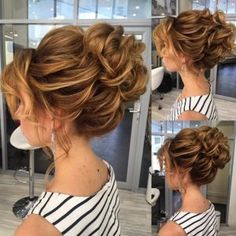 50 Amazing Updos for Medium Length Hair Loose+wavy+bun+by+Elstile Updos For Medium Length Hair, Up Dos For Medium Hair, Medium Hair Styles, Curly Hair Styles, Haircuts For Medium Length Hair Layered, Ball Hairstyles, Loose Hairstyles, Bride Hairstyles, Mother Of The Bride Hair