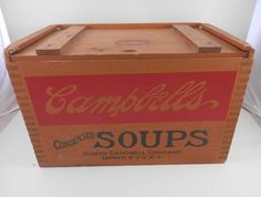 Campbell's Soup 125th #Anniversary Wooden #Box Crate #Toys #Recipes Shelf Case #VTG #Campbells