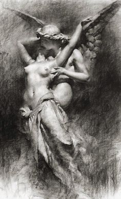 """Eros and Psyche (Herbert James Draper?)  """"Eros seizes and shakes my very soul like the wind on the mountain shaking ancient oaks."""" ~Sappho"""