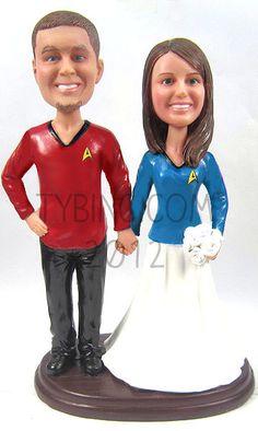 What matt would choose.Star Trek Wedding Cake Toppers with your faces! Star Trek Wedding, Personalized Wedding Cake Toppers, Hero Movie, Wedding Preparation, For Stars, Wedding Groom, Wedding Planning, Wedding Ideas, Wedding Cakes