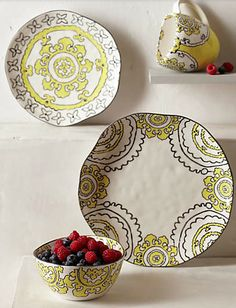 pretty yellow plate ware