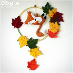 Baby nursery mobile - Felt Fox - Felt leaves