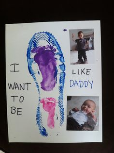 We made this for Daddy using the kids footprints inside of one of his shoe prints.  I also took pictures of each of them with his shoes.  He loved it!
