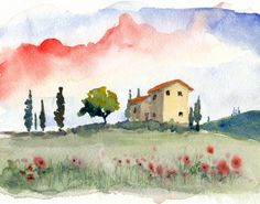 watercolor landscape Tuscan Spring II11x14 by bleuherron on Etsy, $30.00