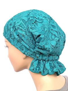 Turban Plus Abbey Cap closeouts Chemo Caps Cancer Hats For Women - Lace Sequ. - Turban Plus Abbey Cap closeouts Chemo Caps Cancer Hats For Women – Lace Sequin Turquoise (Stretch Lace) – Chemo Caps Pattern, Scrub Hat Patterns, Chemo Beanies, Head Scarf Tying, Turban Hat, Scrub Hats, Mode Hijab, Stretch Lace, Hats For Women