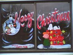 Christmas Windows, Christmas Door, Christmas Ideas, Christmas Crafts, Christmas Decorations, Xmas, Painted Window Art, Window Paint, Beach Christmas