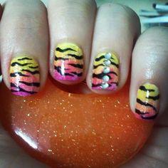 Lisa Frank Inspired by TenTinyCanvases - Nail Art Gallery nailartgallery.nailsmag.com by Nails Magazine www.nailsmag.com #nailart