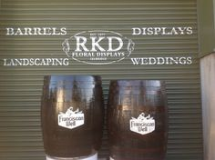 Franciscan Well Whiskey Barrels By RKD Floral Displays Whiskey Barrels, Craft Beer, Display, Floral, Crafts, Floor Space, Manualidades, Billboard, Flowers