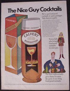 1967 Original Print Ad Calvert Manhattan Goof-proof Cocktails