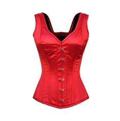 CorsetsNmore Red Blue Satin Leather Gothic Steampunk Waist Training Bustier Overbust Corset