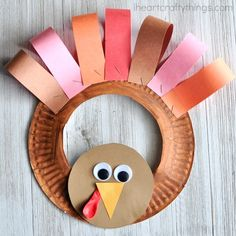If your kids love helping you decorate for the holidays they are going to love making this adorable paper plate Thanksgiving turkey wreath.