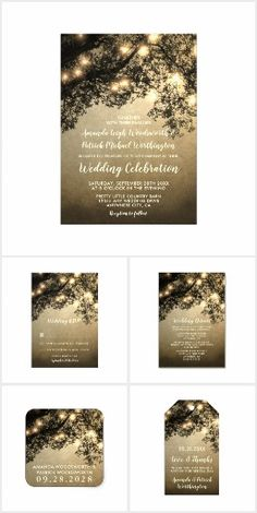 Rustic Vintage Tree Branch Wedding Invitation Set. Products are themed in a beautiful vintage background with enchanted tree branches and string lights to create a unique forest look that's perfect for country, antique, woodland or any other similar wedding theme.  #ad