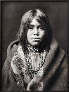 Framed Art Print: Apache Girl Framed Art by Edward S. Curtis : 25x19in