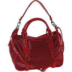 Buxton Checked Rectangle Pu Satchel With Patent Trim Red - Buxton Manmade Handbags