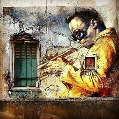 New Ideas Street Art Graffiti Music Murals Murals Street Art, Graffiti Art, Mural Art, Urban Street Art, 3d Street Art, Amazing Street Art, Street Artists, L'art Du Portrait, Urbane Kunst