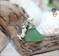 Mermaid Necklace from Hawaii, Hawaiian Sea Glass Jewelry for beach brides & island weddings