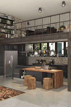 32 The Best Industrial Kitchen Design Ideas 32 The Best Indus. 32 The Best Industrial Kitchen Design Ideas 32 The Best Industrial Kitchen Desig Industrial Kitchen Design, Industrial House, Industrial Interiors, Rustic Kitchen, Interior Design Kitchen, Industrial Kitchens, Loft Kitchen, Warehouse Kitchen, Warehouse Home
