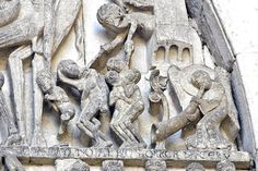 Autun Cathedral St-Lazare - Tympanum by Gislebertus -  A devil figure appears from the jaws of hell to pull in a few more souls for the new members night, whilst an angel trumpets.