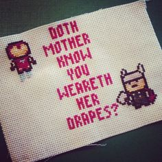 Doth mother know you weareth her drapes? iron man thor cross stitch chibi sprite