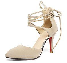 JITIAN Sandales Femmes Talons Hauts Bloc Chaussures Élégant Lacet Cheville Bout Rond Ouvert Sandale Noir 38 4IK29
