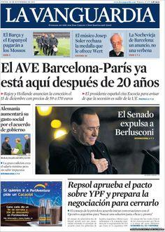 Los Titulares y Portadas de Noticias Destacadas Españolas del 28 de Noviembre de 2013 del Diario La Vanguardia ¿Que le pareció esta Portada de este Diario Español?