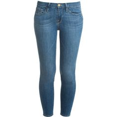 FRAME DENIM Skinny De Jeans ($283) ❤ liked on Polyvore featuring jeans, bottoms, pants, blue jeans, zipper skinny jeans, mid rise skinny jeans, vintage jeans and mid-rise jeans