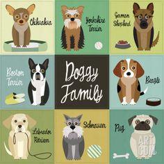 Art.fr - Reproduction d'art 'Doggy Family' par Jenn Ski