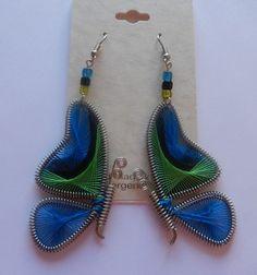 Earrings -thread Peruvian Butterfly Wings black blue green-silver toned-