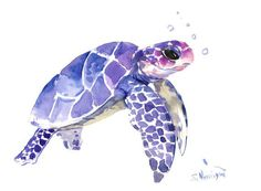 Sea Turtle painting, original watercolor painting, 12 X 9 in, blue purple sea world art from ORIGINALONLY on Etsy. Saved to Paintings.