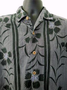 Tommy Bahama Hawaiian Shirt Gray Large Black Graphic Flowers Lines Button Front #TommyBahama #Hawaiian