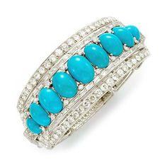 An Art Deco Turquoise Diamond Bracelet by CARTIER.