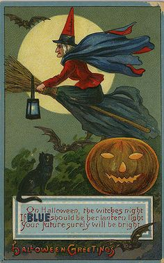 Lantern color series Halloween postcard...this person has 1000+ pins of vintage Halloween