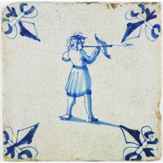 Archer with crossbow on this antique Dutch Delft tile