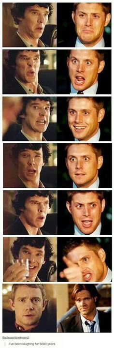 Did anyone else read it as Sherlock and Dean having an argument while Sam and Watson just exchange exasperated looks?