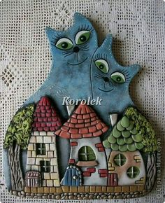 Painting mural drawing Modeling Casting Koty- nerozluchniki of gypsum plaster dough salty photo 1 Polymer Clay Kunst, Polymer Clay Projects, Diy Clay, Ceramic Clay, Ceramic Pottery, Pottery Houses, Clay Cats, Clay Ornaments, Paperclay