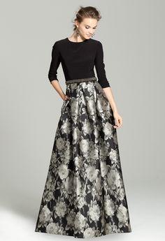 Three- Quarter Sleeve Dress with Printed Skirt