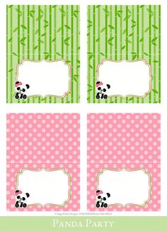 Panda Tent Cards Tent Cards printable Foldable by SugarPickleParty Panda Themed Party, Panda Birthday Party, Panda Party, 10th Birthday, Pink Panda, Panda Love, Cute Panda, Printable Banner, Printable Cards