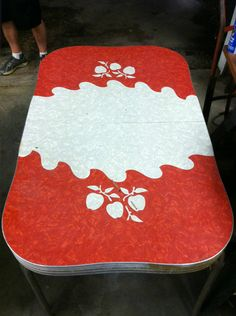 Vintage 1950's Kitchen Table Red White with Fruit Print Formica Top | eBay