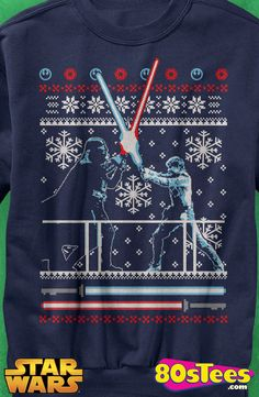 Lightsaber Duel Faux Ugly Christmas Sweater: Star Wars Mens Sweatshirt  Star Wars Geeks:  The design and illustration brings a bit of holiday to men's fashions.  It will take you to Mr. Popularity or maybe even film celebrity status.
