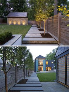 A concrete, paved modern walkway runs along the side of the yard, leading from the front to the back of the yard.