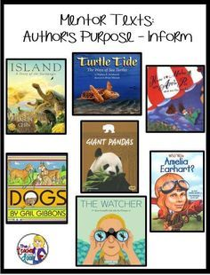Purpose: 8 Steps Easy as Pie Mentor texts and lots of ideas to help you teach Author's Purpose:To informMentor texts and lots of ideas to help you teach Author's Purpose:To inform Reading Lessons, Reading Strategies, Reading Skills, Teaching Reading, Reading Comprehension, Comprehension Strategies, Teaching Ideas, Guided Reading, Math Lessons