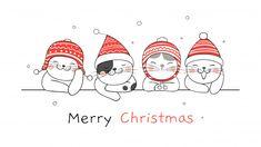 Feliz natal banner com gatos vetor Premium Merry Christmas Images, Merry Christmas Banner, Christmas Doodles, Christmas Drawing, Christmas Cats, Christmas Time, Hygge Christmas, Christmas Frames, Christmas Decorations