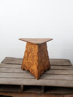 Antique Wood Table / 1900s Pyrography Table / Art Nouveau