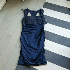 Hailey Adriana Papell 6 blue formal dress New with tags Size 6 Stretch dress with metallic lace detail Adrianna Papell Dresses Mini
