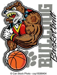 Vector - bulldog basketball player - stock illustration, royalty free illustrations, stock clip art icon, stock clipart icons, logo, line art, EPS picture, pictures, graphic, graphics, drawing, drawings, vector image, artwork, EPS vector art