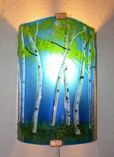 Aspen Grove Fused Glass Sconce-Sapphire Blue by MountinDesigns on Etsy https://www.etsy.com/listing/117181881/aspen-grove-fused-glass-sconce-sapphire